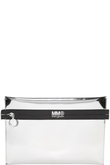 MM6 Maison Margiela - Silver Mirrored Faux-Leather Pouch