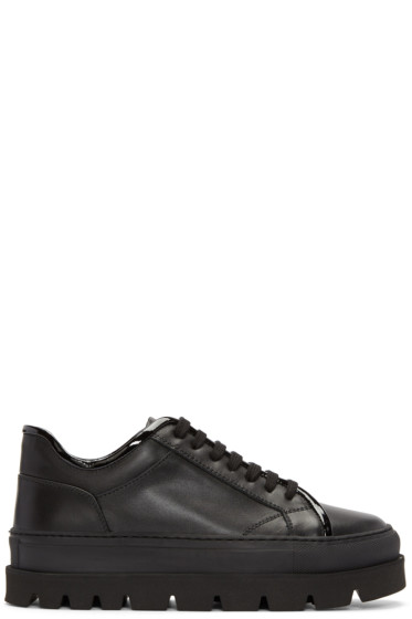 MM6 Maison Margiela - Black Leather Flatform Sneakers