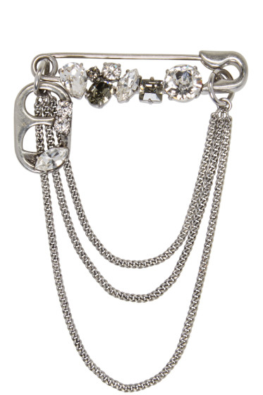 Marc Jacobs - Silver Safety Pin Chain Brooch