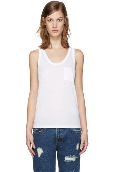 T by Alexander Wang - White Classic Jersey Tank Top