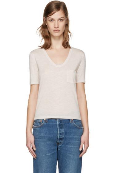 T by Alexander Wang - Beige Jersey Pocket T-Shirt