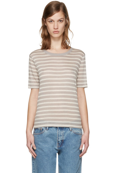 T by Alexander Wang - Beige & Taupe Striped T-Shirt