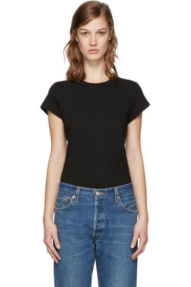 T by Alexander Wang - Black Jersey T-Shirt Bodysuit
