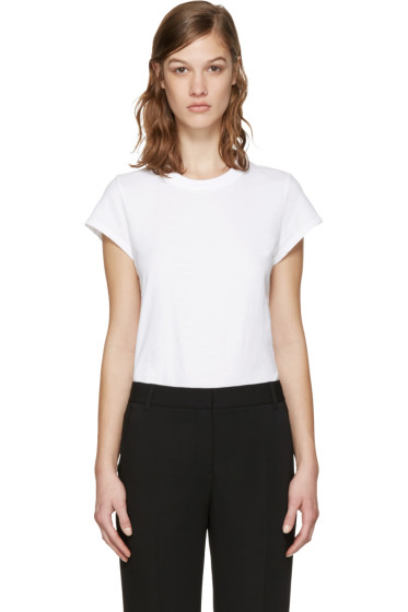 T by Alexander Wang - White Jersey T-Shirt Bodysuit