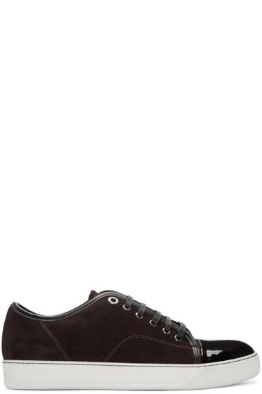 Lanvin - Burgundy Suede Tennis Sneakers