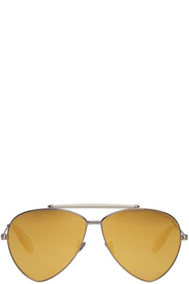 Alexander McQueen - Gunmetal Teardrop Aviator Sunglasses