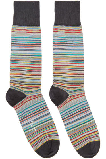 Paul Smith - Three-Pack Multicolor Striped Socks