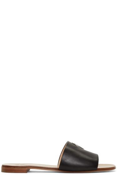 Giuseppe Zanotti - Black Leather Logo Sandals