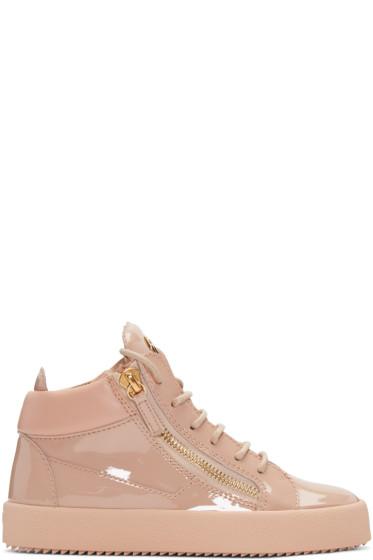 Giuseppe Zanotti - Pink Patent London High-Top Sneakers