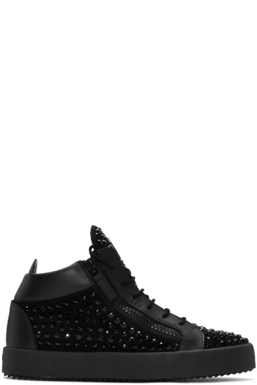 Giuseppe Zanotti - Black Crystal London High-Top Sneakers