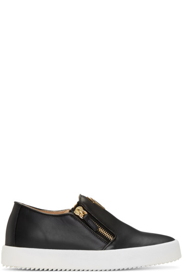 Giuseppe Zanotti - Black Leather London Slip-On Sneakers