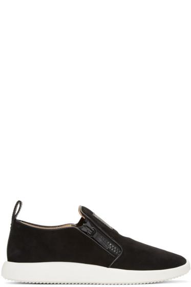 Giuseppe Zanotti - Black Suede Slip-On Sneakers