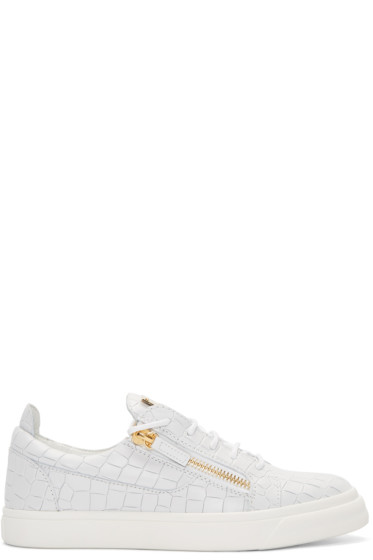 Giuseppe Zanotti - White Croc-Embossed London Slip-On Sneakers