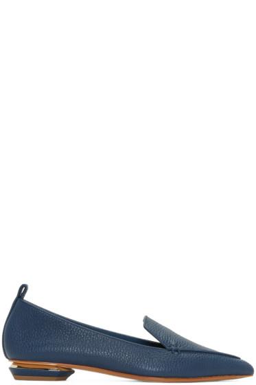 Nicholas Kirkwood - Blue Leather Beya Loafers