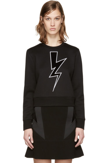 Neil Barrett - Black Cropped Thunderbolt Pullover