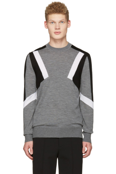 Neil Barrett - Grey Abstract Pullover