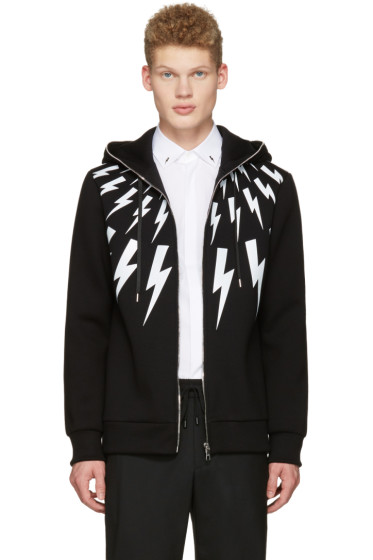 Neil Barrett - Black Multi Thunderbolt Hoodie