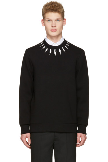 Neil Barrett - Black Thunderbolt Collar Pullover