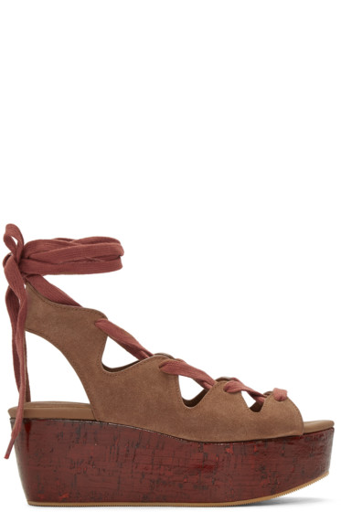 See by Chloé - Brown Suede Lianna Flatform Sandals
