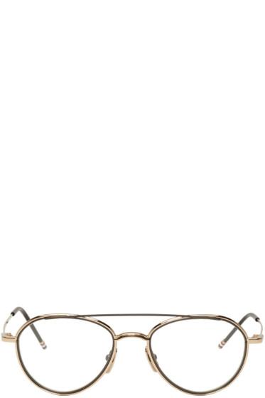 Thom Browne - Gold & Black TB 109 Aviator Glasses