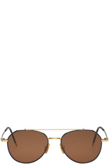 Thom Browne - Navy & Gold TB 105 Aviator Sunglasses