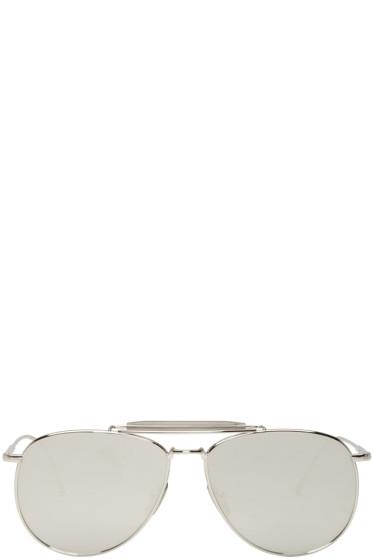 Thom Browne - Silver TB 015 Aviator Sunglasses