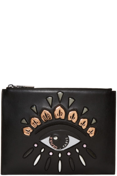 Kenzo - Black Leather Embroidered Eye Pouch