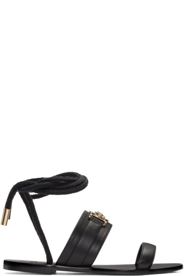 Versace - Black Leather Medusa Sandals