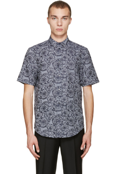 Versace - Grey & Navy Baroque Shirt