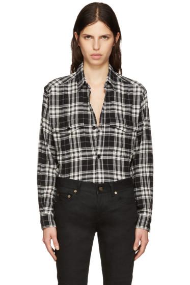 Saint Laurent - Black Tartan Check Oversized Shirt