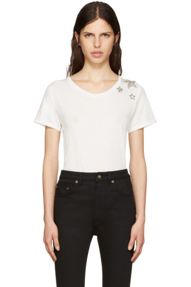 Saint Laurent - White Embroidered Stars T-Shirt
