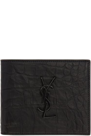 Saint Laurent - Black Croc-Embossed Monogram East/West Wallet