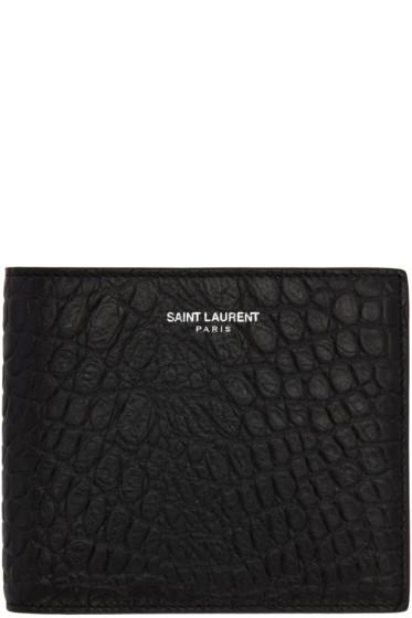 Saint Laurent - Black Croc-Embossed East/West Wallet