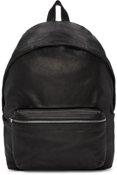 Saint Laurent - Black Washed Leather City Backpack