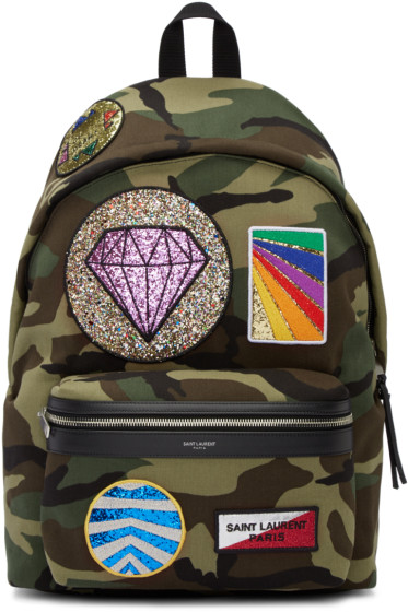 Saint Laurent - Green Camouflage Multi-Patch City Backpack