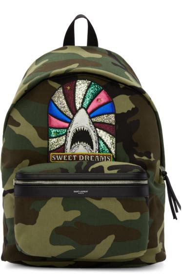 Saint Laurent - Green Camouflage Sweet Dreams City Backpack