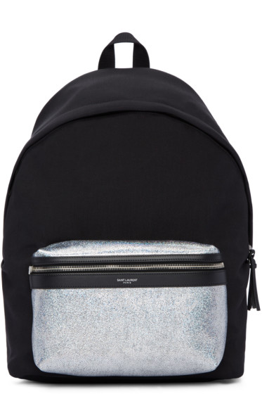 Saint Laurent - Black & Silver City Backpack