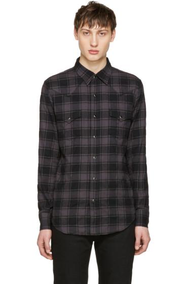 Saint Laurent - Black Flannel Check Shirt