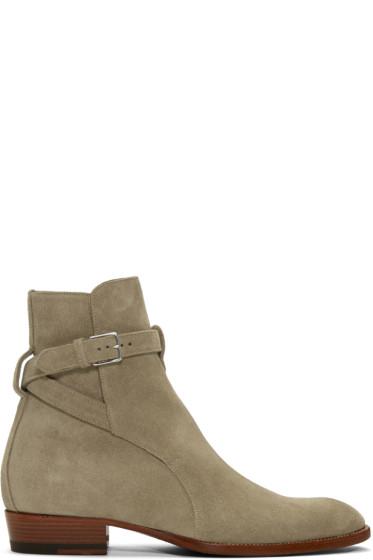 Saint Laurent - Tan Suede Wyatt Jodhpur Boots