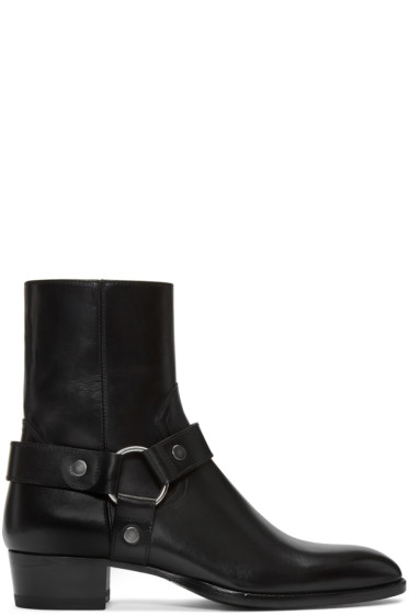 Saint Laurent - Black Leather Wyatt Harness Boots