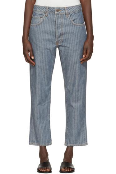 6397 - Indigo Herringbone Shorty Jeans