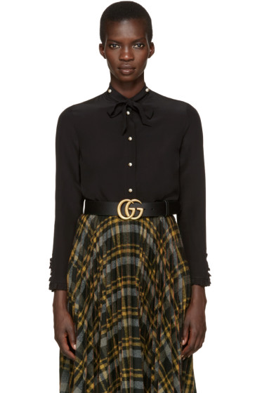 Gucci - Black Silk Flounce Shirt