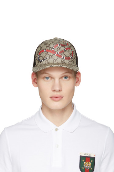 Gucci - Beige Logo & Snake Cap