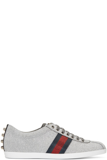 Gucci - Silver Glitter Bamber Sneakers