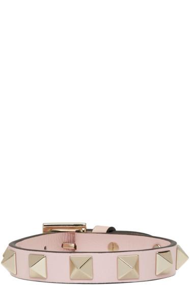 Valentino - Pink Leather Rockstud Bracelet