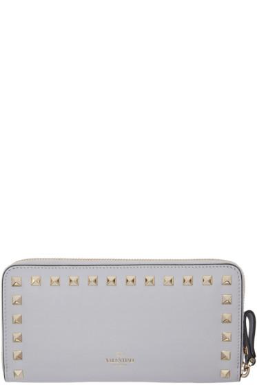 Valentino - Grey Rockstud Continental Wallet