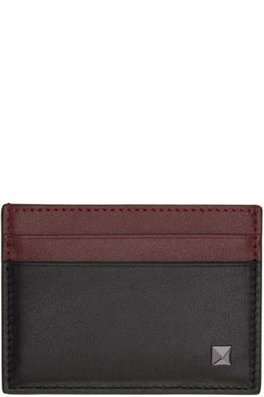 Valentino - Black & Burgundy Single Rockstud Card Holder