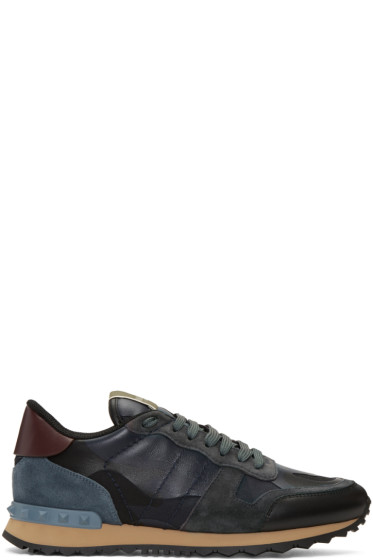 Valentino - Navy Camouflage Rockrunner Sneakers