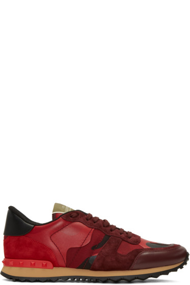 Valentino - Red Camo Rockrunner Sneakers