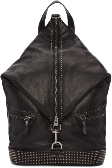 Jimmy Choo - Black Studded Leather Fitzroy Backpack
